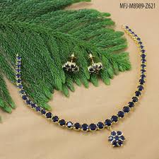 sapphire necklace set images Blue sapphire stones single line flower design gold plated jpg