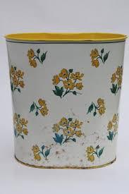 Yellow Wastebasket 40s 50s Vintage Metal Wastebasket Yellow Primroses Chintz Floral