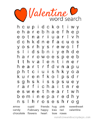printable word search valentine word search printable sunshine and rainy days