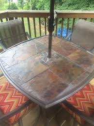 slate patio table original glass was shattered so i replaced