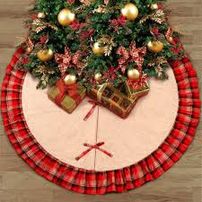 amazon com aytai 48inch burlap christmas tree skirt black and red