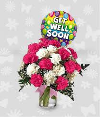get well soon flowers dozen pink and white carnations