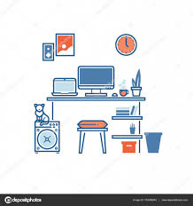 workplace or studying place interior home work space concept