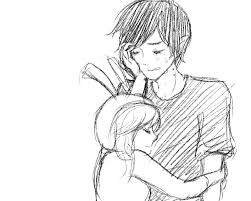 drawn hug couple together pencil and in color drawn hug