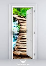 open door wooden bridge wall stickers open door wooden bridge