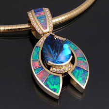 opal australia necklace images Australian opal pendant with topaz and diamonds by hilemanjewelry jpg