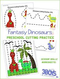printable preschool cutting activities preschool cutting practice dinosaurs worksheets 3 boys and a dog