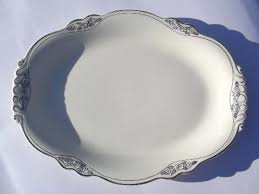 homer laughlin china virginia platinum silver patrician platters vintage homer laughlin china
