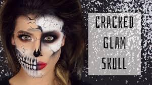 Glamorous Halloween Makeup Glamorous Cracked Skull Halloween Makeup Youtube