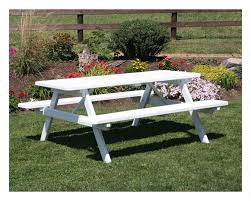 6 ft traditional wooden picnic table with 2 attached benches