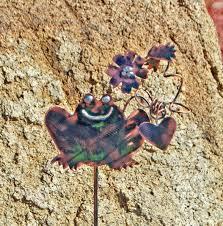 Copper Garden Art Frog Decor Garden Stake Metal Garden Art Yard Art Copper Garden