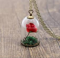rose glass necklace images Beauty and the beast inspired red rose glass dome necklace jpg