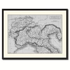 northern italy vintage b u0026w map canvas print picture frame home