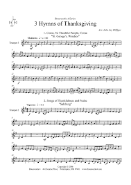 3 hymns of thanksgiving trumpet 3 sheet for piano and