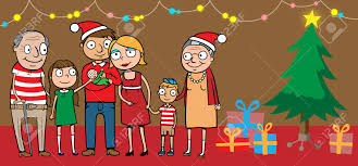 cartoon vector illustration of big happy family celebrating at