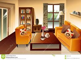 living room beige green sofa orange pillows lamps window