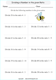 ratio and proportion worksheets for grade 5 and 6 math students