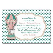 bring a book instead of a card baby shower bring a book instead of a card hot air balloon card zazzle