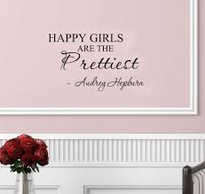 online get cheap hepburn quotes aliexpress com alibaba group happy girls are the prettiest audrey hepburn vinyl wall art inspirational quotes and saying home decor decal sticker