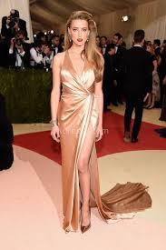Heard Amber Heard Champagne Satin Plunging Prom Dress Met Gala 2016