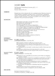 Insurance Resume Template Breathtaking Claims Adjuster Resume 10 Insurance Resume Example