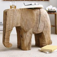 Elephant Side Table Lucky The Elephant Carved Side Table Vivaterra