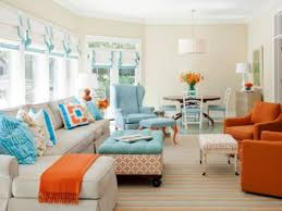 cute white and orange living room bedroom interior home design