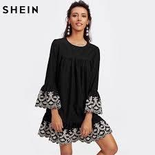 vine embroidered ruffle cuff and hem scalloped shift dress black long