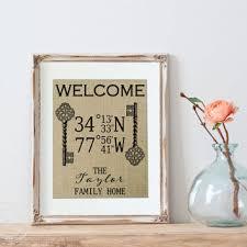 Custom Burlap Art Print Love - shop latitude longitude signs on wanelo