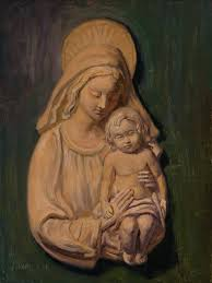 wang fine art mary and baby jesus christ statue oil painting