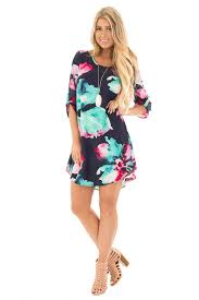 navy watercolor floral print 3 4 sleeve short dress lime lush