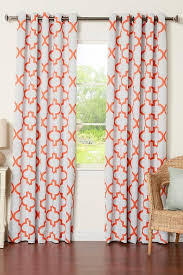 Orange And White Curtains And White Moroccan Blackout Curtain