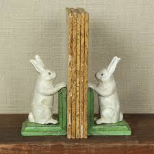rabbit bookends cast iron white rabbit bookends painted my swanky home