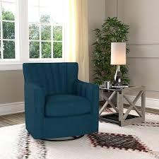 Swivel Arm Chairs Living Room Handy Living Zahara Peacock Blue Linen Swivel Arm Chair Free