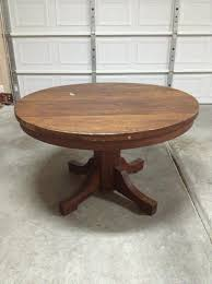 antique table with hidden leaf antique oak round pedestal table with 2 leaves 1500 est dining
