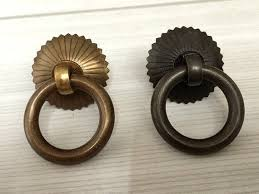 antique looking cabinet hardware small drop ring pulls dresser pull knobs copper drawer knob rings