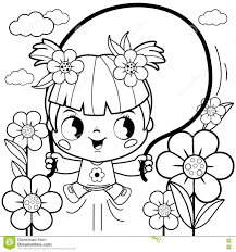 playing in the flower garden coloring book page stock vector