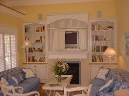 Country Style Tv Cabinet White Beadboard Built In Wall Unit North Country Cabinets