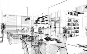 ab home interiors wireframe 3d modern home render architecture ab stock photos