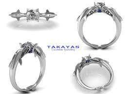 engagement rings ta 14k or platinum dolphin engagement ring by takayas custom jewelry