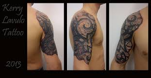 3d cracked stone tribal tattoo on half sleeve photo 2 photo