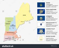 Map New England by New England States Map Flags Stock Vector 369093641 Shutterstock