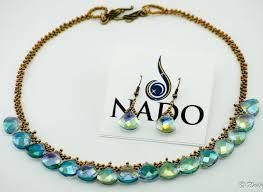 beads necklace sets images Elegant crystal briolette and beads necklace set blue bronze nado