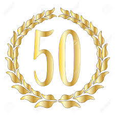 fiftieth anniversary a 50th anniversary symbol a white background royalty free