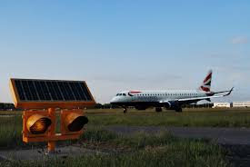 solar powered runway lights solar airfield lighting installed at london city airports