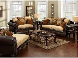 Leather And Upholstered Sofa Couches With Two Different Fabrics Leather And Fabric Sofa In Same