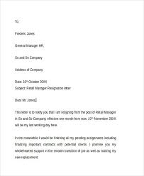 8 retail resignation letter template sample example format