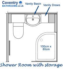 shower room layout converted to a shower room with bathroom storage
