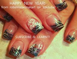 easy nye nail art design new years eve firework nails tutorial