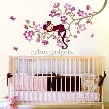 Removable Wall Decals For Nursery Monkey Pink Flower Blossom Tree Wall Decor Decal Baby